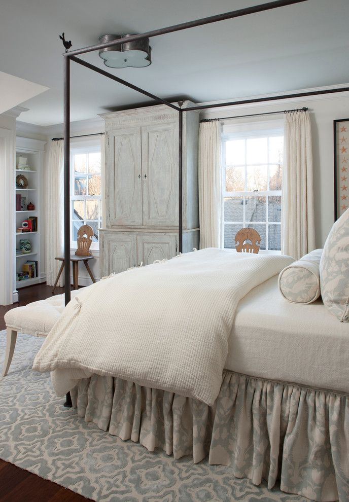 Alexa Hampton for a Traditional Bedroom with a Ceiling Mounted Light and Cameron by Marianne Jones Llc