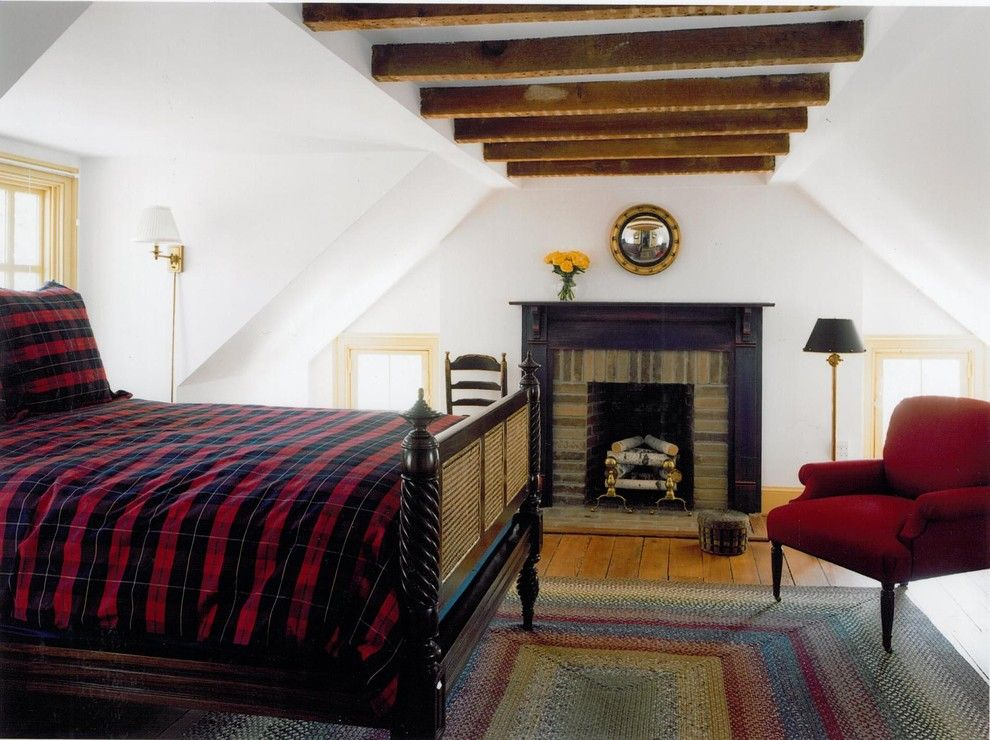 Alexa Hampton for a Traditional Bedroom with a Fireplace and in the Country by Sroka Design, Inc.