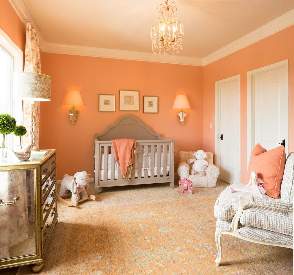 Alexa Hampton for a Traditional Nursery with a White Crown Molding and Children's Bedrooms by Mccroskey Interiors