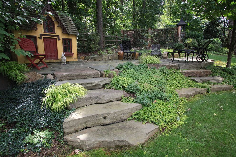 Alice in Wonderland Mushroom for a Traditional Landscape with a Traditional and Garden Playhouse with Patio Space by the Todd Group
