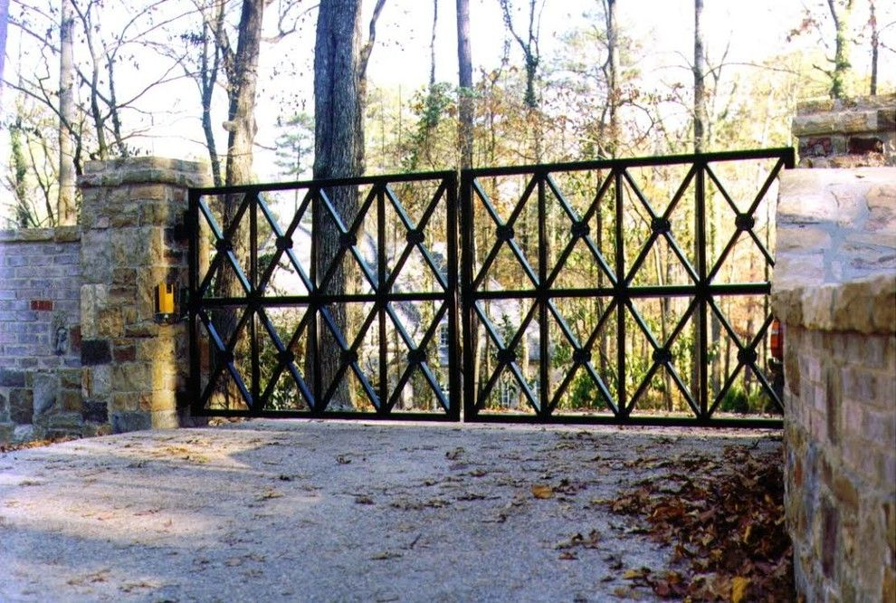 Allied Fence for a Traditional Exterior with a Long Drive Way Ideas and Estate Gates by Allied Fence Co