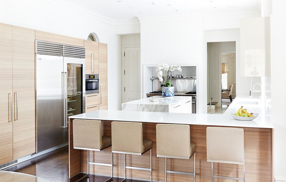 Allied Refrigeration for a Contemporary Kitchen with a Calacatta Borghini and Beverly Residence by Allied Stone Austin