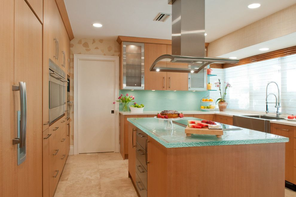 Allied Refrigeration for a Contemporary Kitchen with a Glass Backsplash and Kaplan Kitchen by Allied Kitchen and Bath
