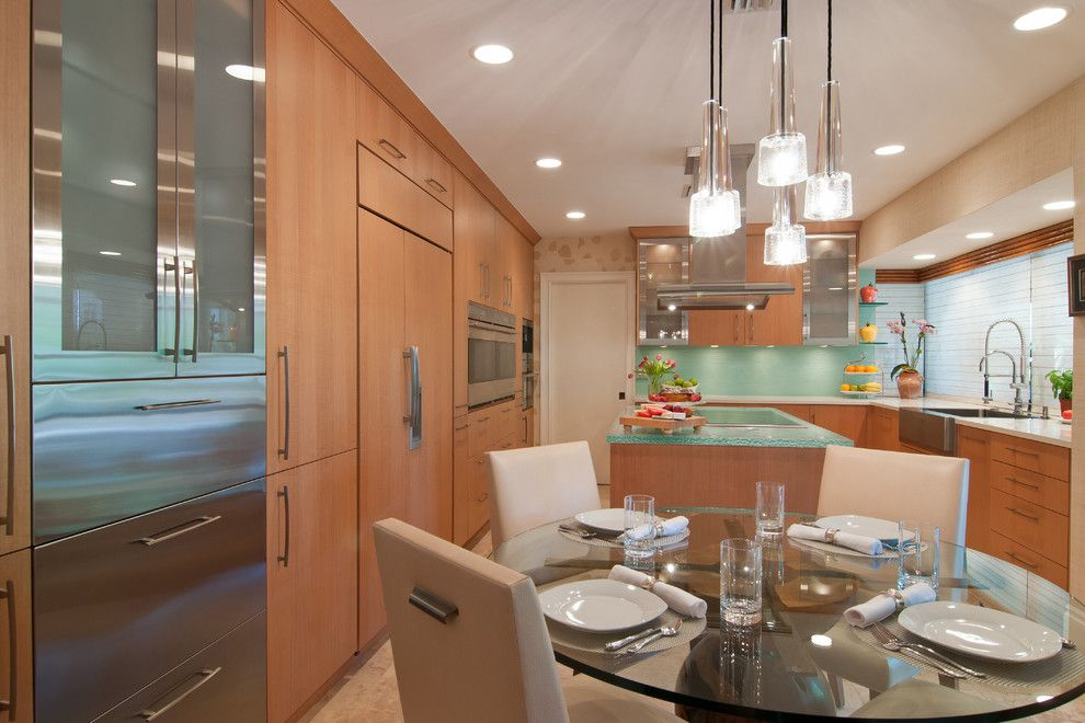 Allied Refrigeration for a Contemporary Kitchen with a Thinkglass Glass Countertop and Kaplan Kitchen by Allied Kitchen and Bath