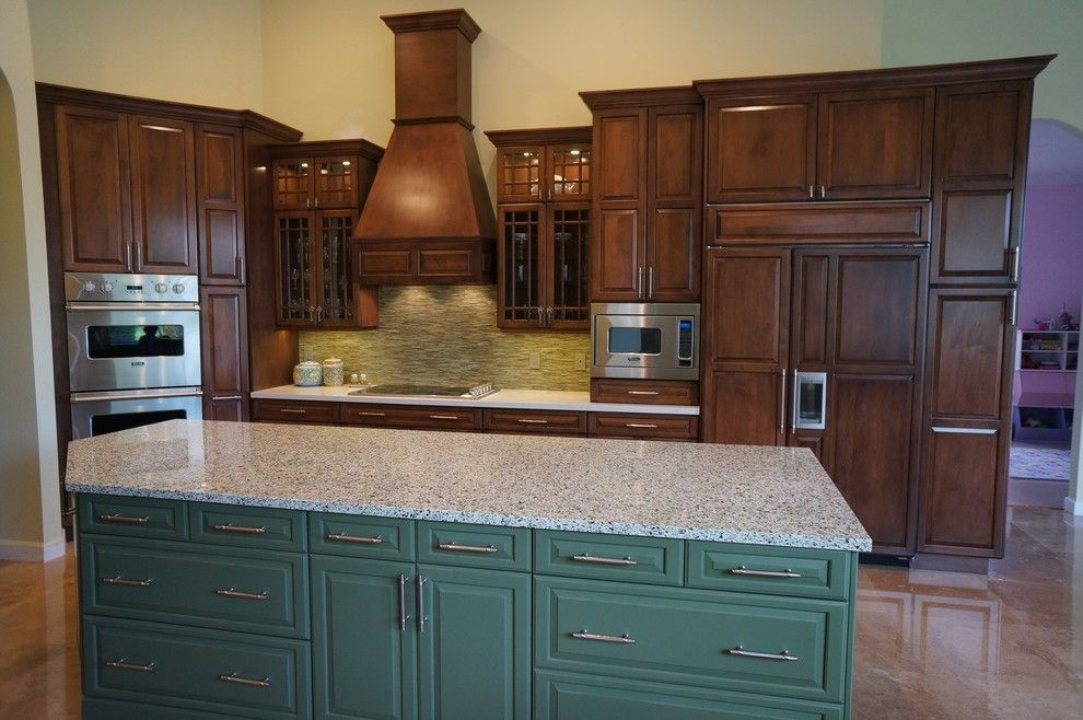 Allied Refrigeration for a Traditional Kitchen with a Sink and Color Impact Kitchen Island by Allied Kitchen and Bath