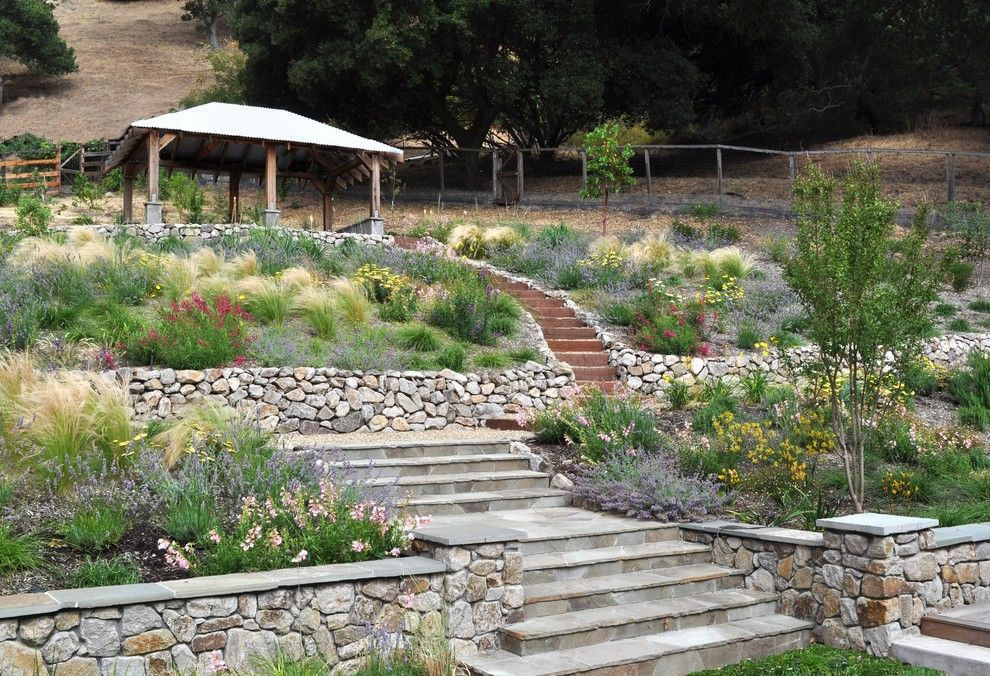 Allside for a Mediterranean Landscape with a Pergola and Lafayette Hillside Pavillion by Huettl Landscape Architecture