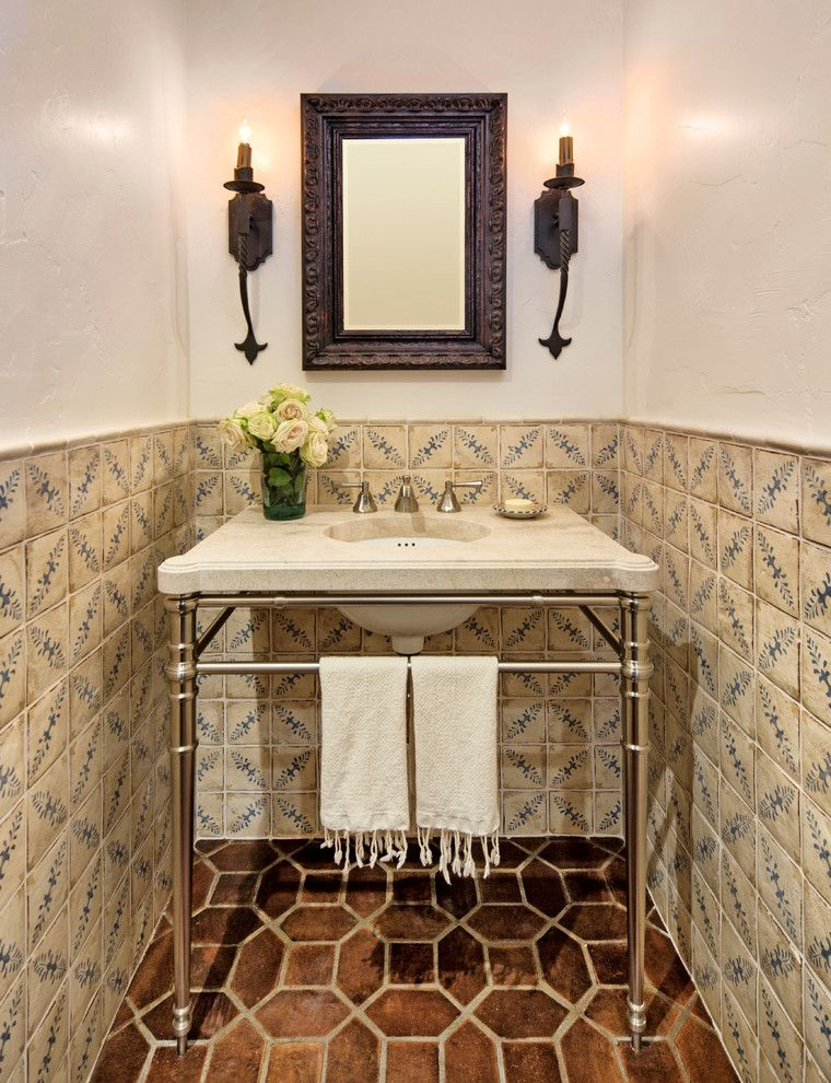 Alltex for a Mediterranean Powder Room with a Framed Mirror and Historic Ranch House Renovation by Allen Construction