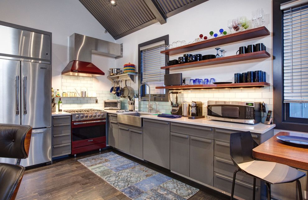 Amaron for a Contemporary Kitchen with a Gray Shelves and Lowell Ave. Park City Utah by Todd Arenson Construction