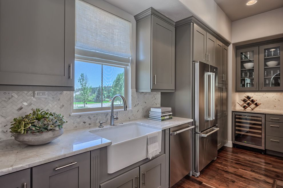 Amaron for a Modern Kitchen with a Wine Fridge and Modern Rustic Home by Mary Andrews Limited
