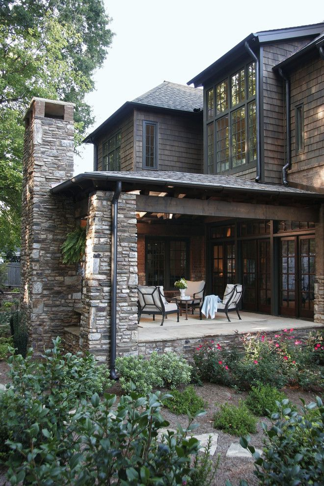 American Exteriors for a Traditional Porch with a Shingle and Back Porch by Dresser Homes