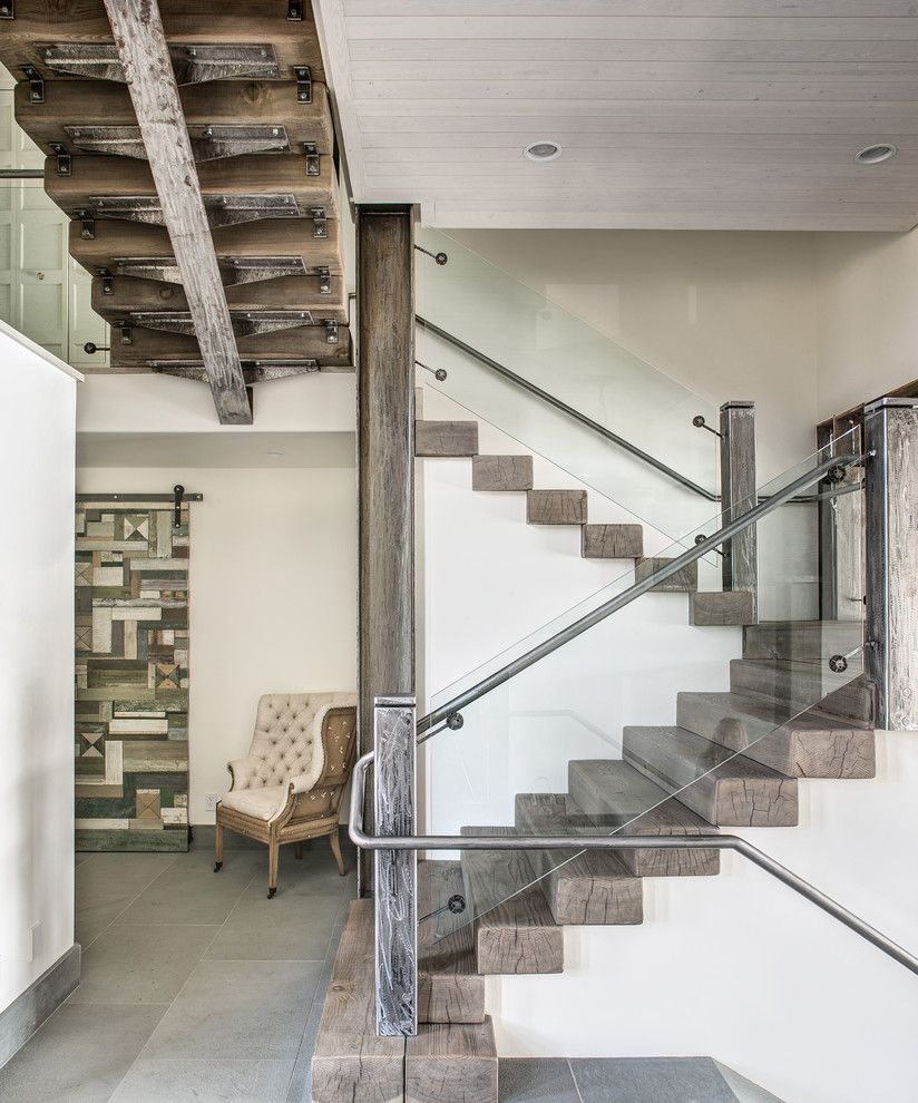 Anixter Center for a Contemporary Staircase with a Landing and Custom River House by Selle Valley Construction, Inc.