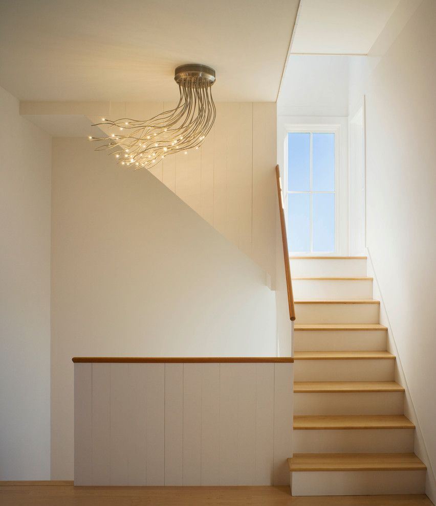 Anixter Center for a Modern Staircase with a Unique Ceiling Light and Block Island House by Estes/twombly Architects, Inc.