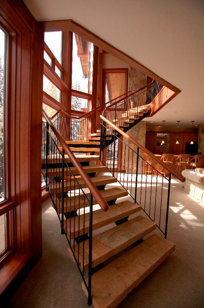 Appalachian Log Homes for a Contemporary Staircase with a Metal Railing and Breckenridge Ski in Ski Out by Sweet Homes of Colorado Inc