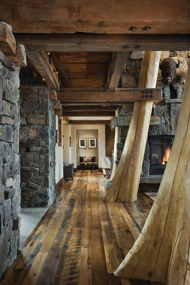 Appalachian Log Homes for a Rustic Hall with a Open Concept and Elk Ridge Lodge by Centre Sky Architecture Ltd