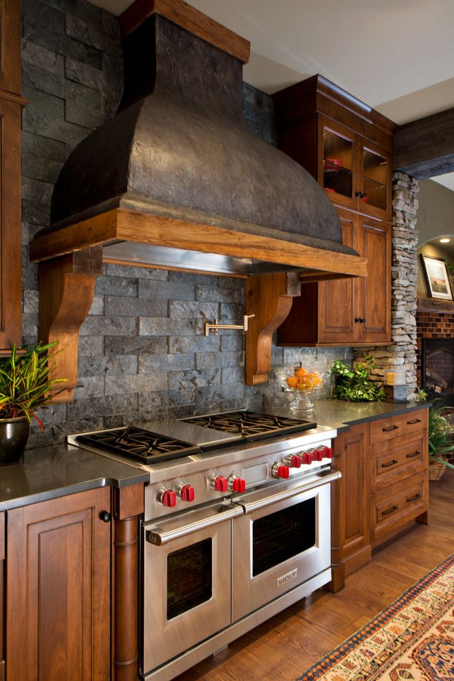 Appalachian Log Homes for a Rustic Kitchen with a Heartwood Maple and 2014 Parade of Homes   Pinnacle Home Winner – Best Kitchen by Columbia Cabinets