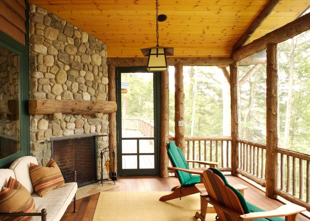 Appalachian Log Homes for a Rustic Porch with a Pine Ceiling Boards and Modern Lakeside Home with Rustic Influences by Adirondack Design