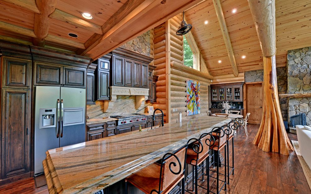 Appalachian Log Homes for a Traditional Kitchen with a Log Beams and Blue Ridge Georgia Custom Homes by Envision Web