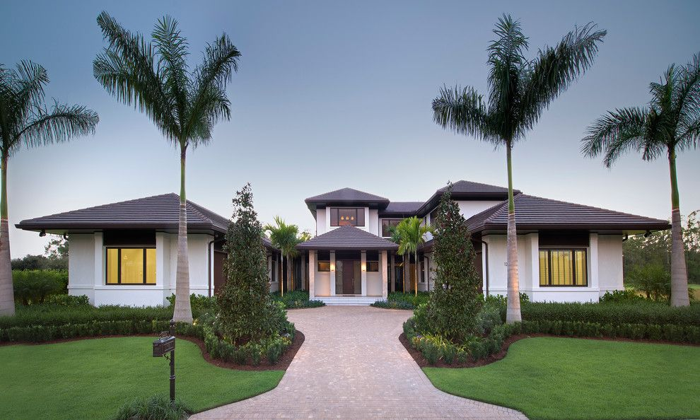 Appalachian Log Homes for a Tropical Exterior with a Interior Design and Private Residence, the Estuary, Naples, Fl by Harwick Homes