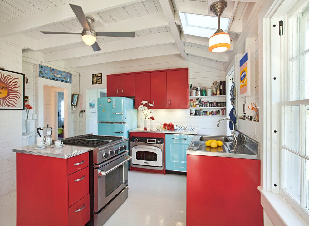 Aqua World for a Beach Style Kitchen with a Skylight and Nantucket by Nantucket Architecture Group Ltd.