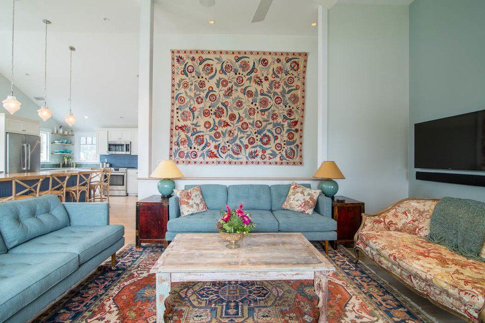 Aqua World for a Traditional Living Room with a Wall Tapestry and Traditional Living Room by Amyduttonhome.com