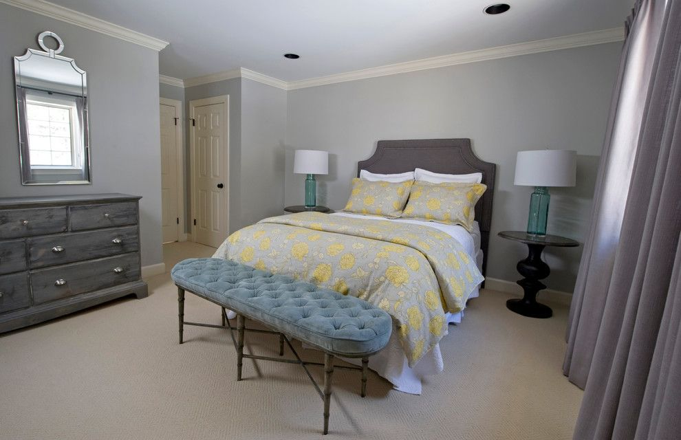 Aqua World for a Transitional Bedroom with a Transitional and Yellow & Gray Bedroom by K. D. Ellis Interiors