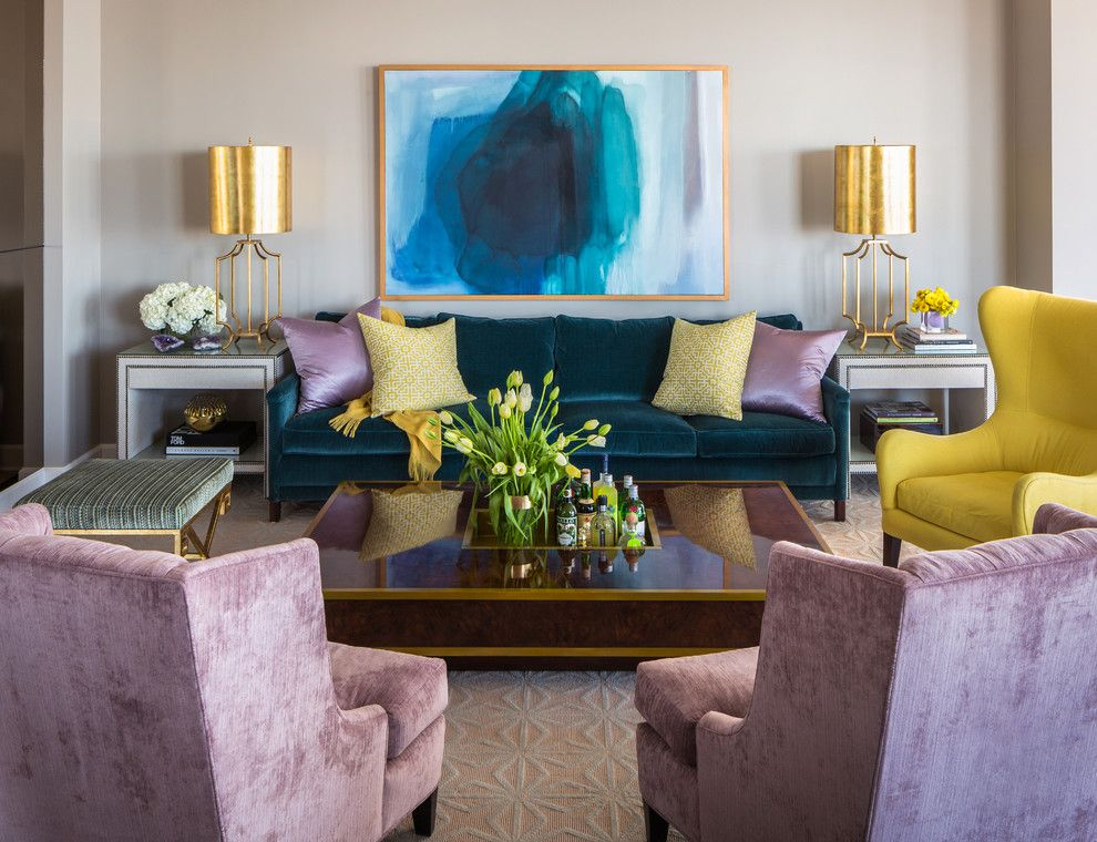 Aqua World for a Transitional Living Room with a Apartment and Riverside Penthouse by Tobi Fairley Interior Design