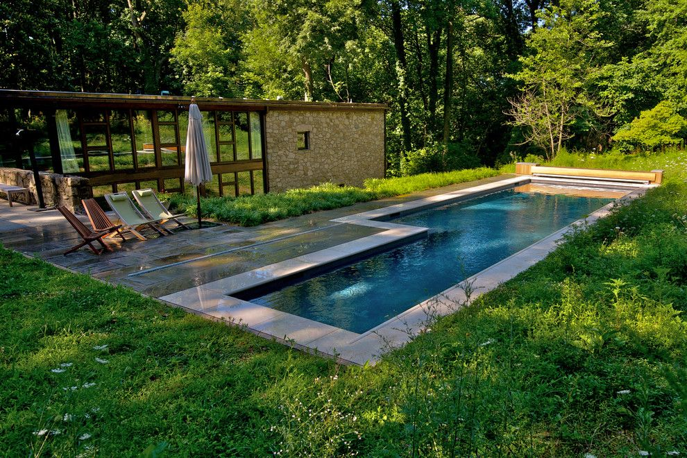 Aquatech for a Contemporary Pool with a Cover Box and Geometric Elements   East Falls, Pa by Armond Aquatech Pools