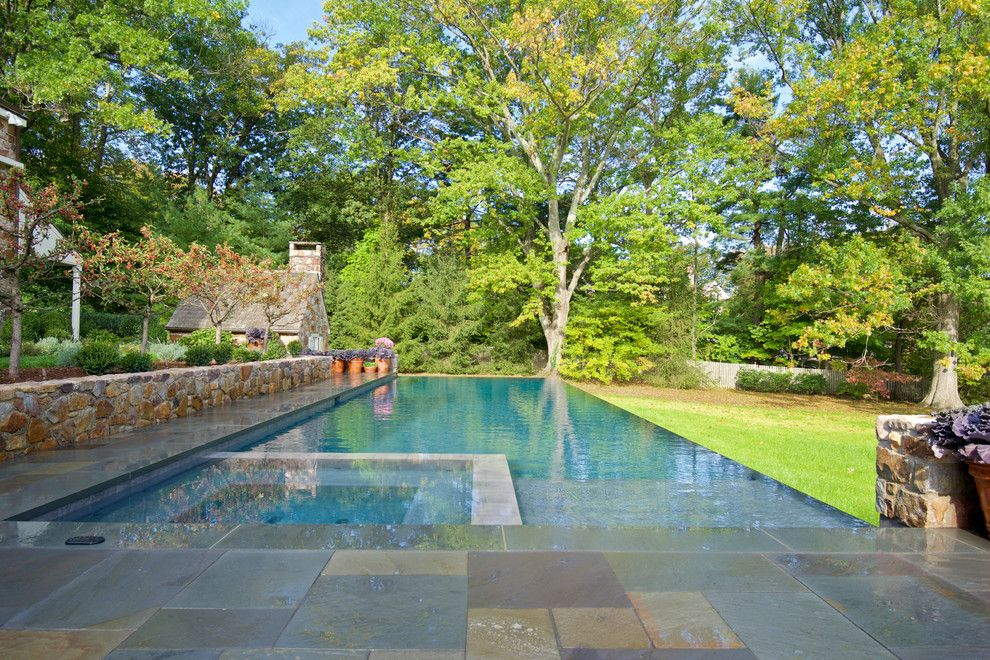 Aquatech for a Traditional Pool with a Luxury and Infinity Edge Elements   Wynnewood, Pa by Armond Aquatech Pools