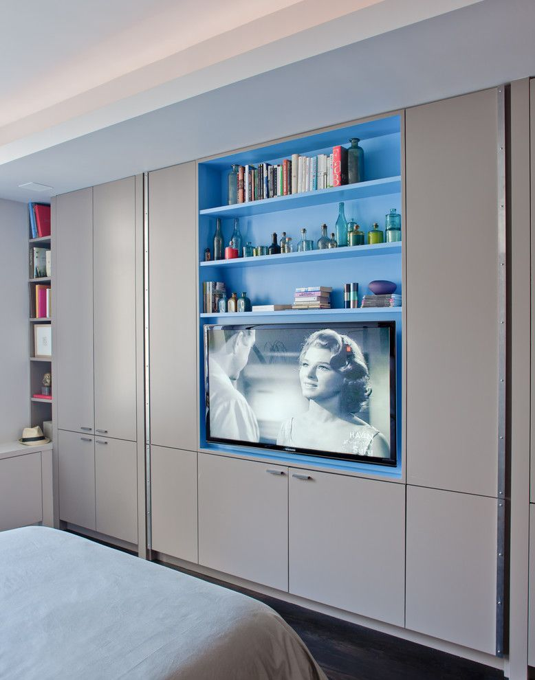 Aragon Entertainment Center for a Contemporary Bedroom with a Closet and Contemporary Bedroom by Wettling.com