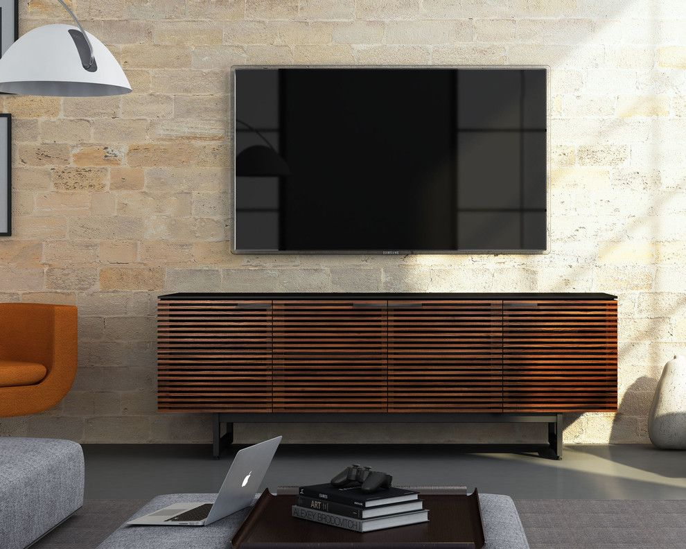 Aragon Entertainment Center for a Contemporary Living Room with a Chocolate Brown and Bdi Furniture by Bdi Furniture