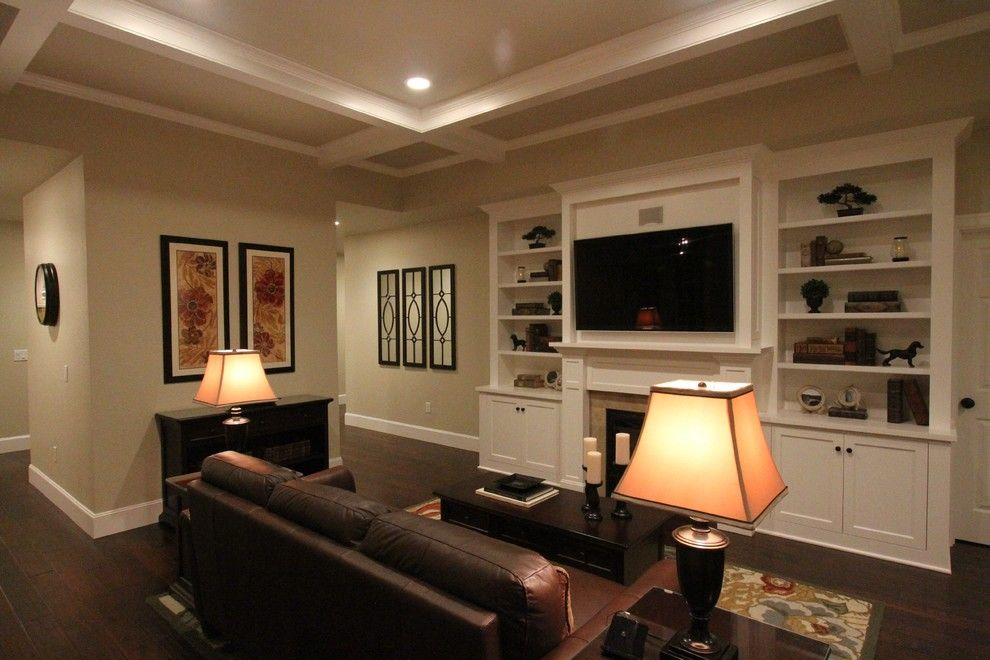 Aragon Entertainment Center for a  Family Room with a Hallmark Hardwoods Floor and Victorian Ave. Family Room by Aloha Home Builders
