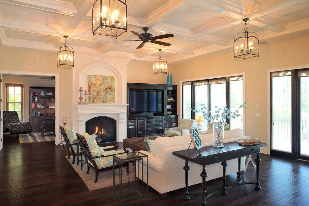 Aragon Entertainment Center for a Mediterranean Living Room with a Wood Flooring and Bayshore Estates Custom Home by Devonshire Custom Homes