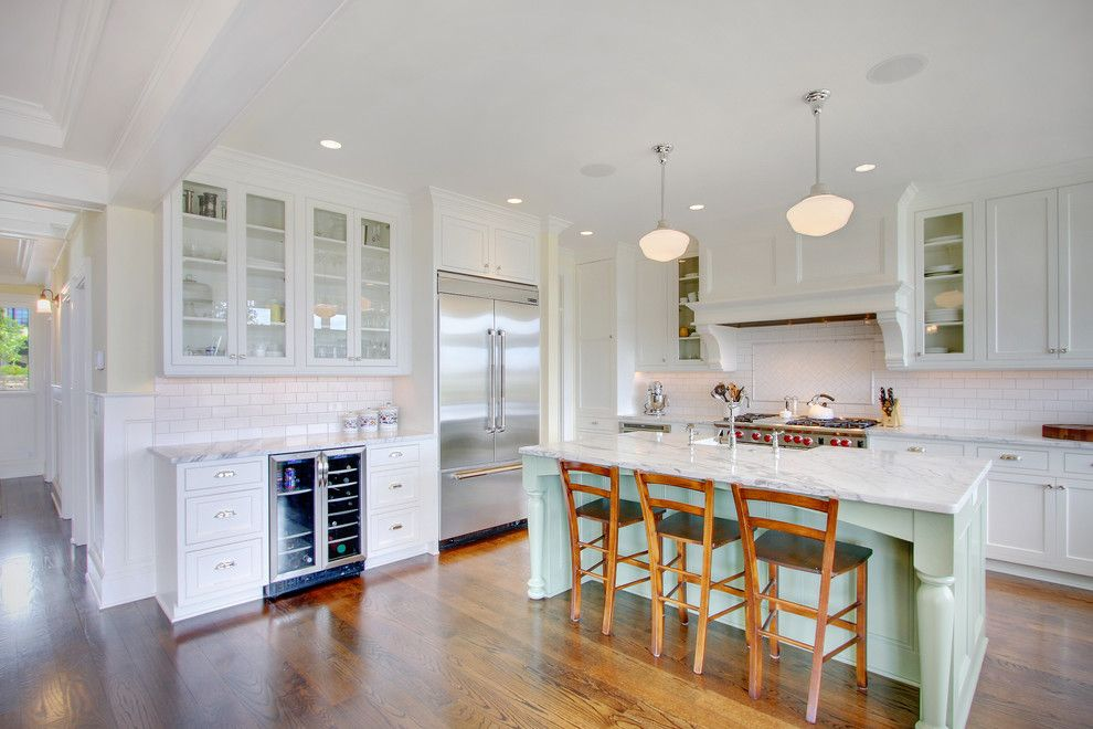 Aragon Entertainment Center for a Traditional Kitchen with a Range and Kirkland Traditional by Rw Anderson Homes