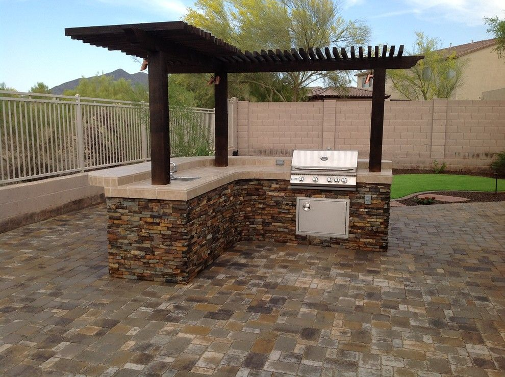 Arbor Crest for a Traditional Patio with a Bbq with a Wood Pergola and Belgard Pavers  Back Yard Patio by Desert Crest, LLC
