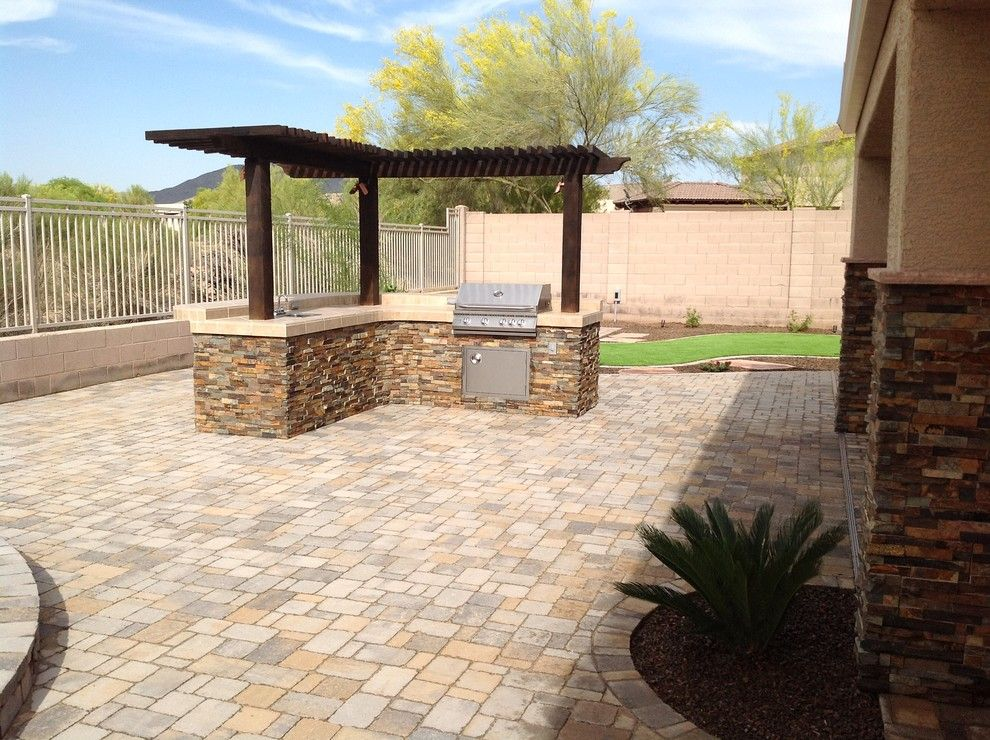 Arbor Crest for a Traditional Patio with a Cave Creek Outdoor Barbeque Bar and Belgard Pavers  Back Yard Patio by Desert Crest, Llc