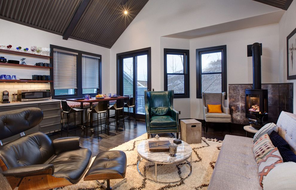 Arenson for a Contemporary Living Room with a Vaulted Ceiling and Lowell Ave. Park City, Utah by Todd Arenson Construction