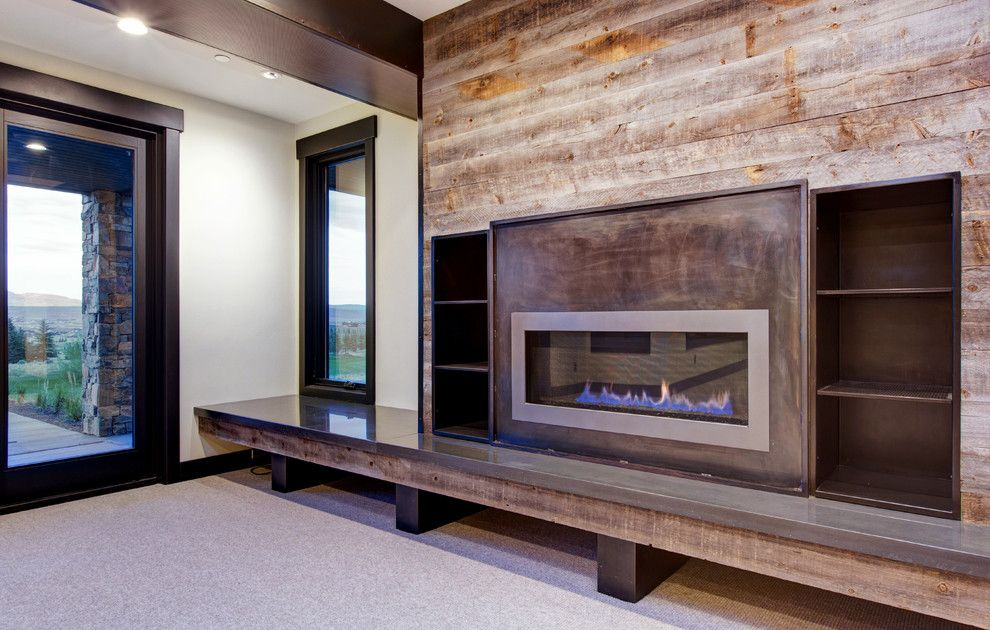 Arenson for a Modern Basement with a Metal Fireplace Facade and Glenwild by Todd Arenson Construction