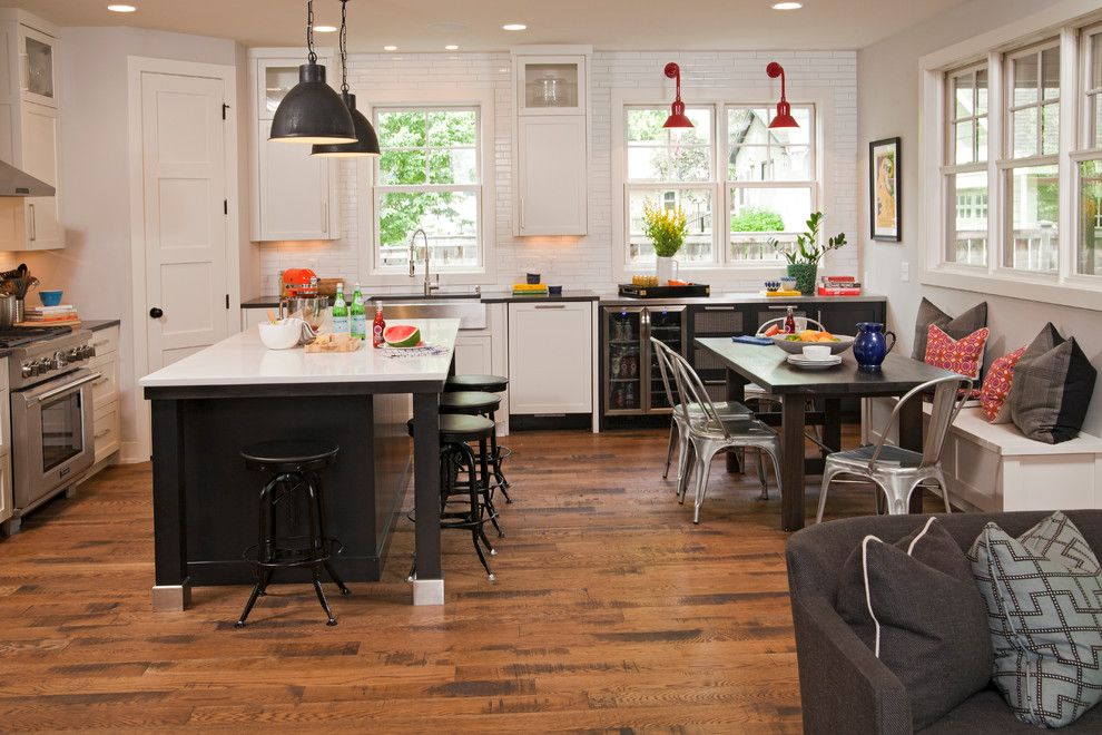 Armstrong Commercial Flooring for a Farmhouse Kitchen with a Kitchen Table and Classic Contemporary by Refined Llc