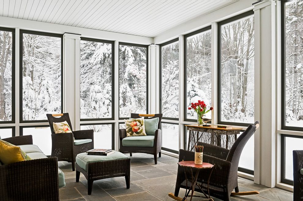 Armstrong Commercial Flooring for a Farmhouse Porch with a Patio Furniture and Sun Room in Winter by Whitten Architects
