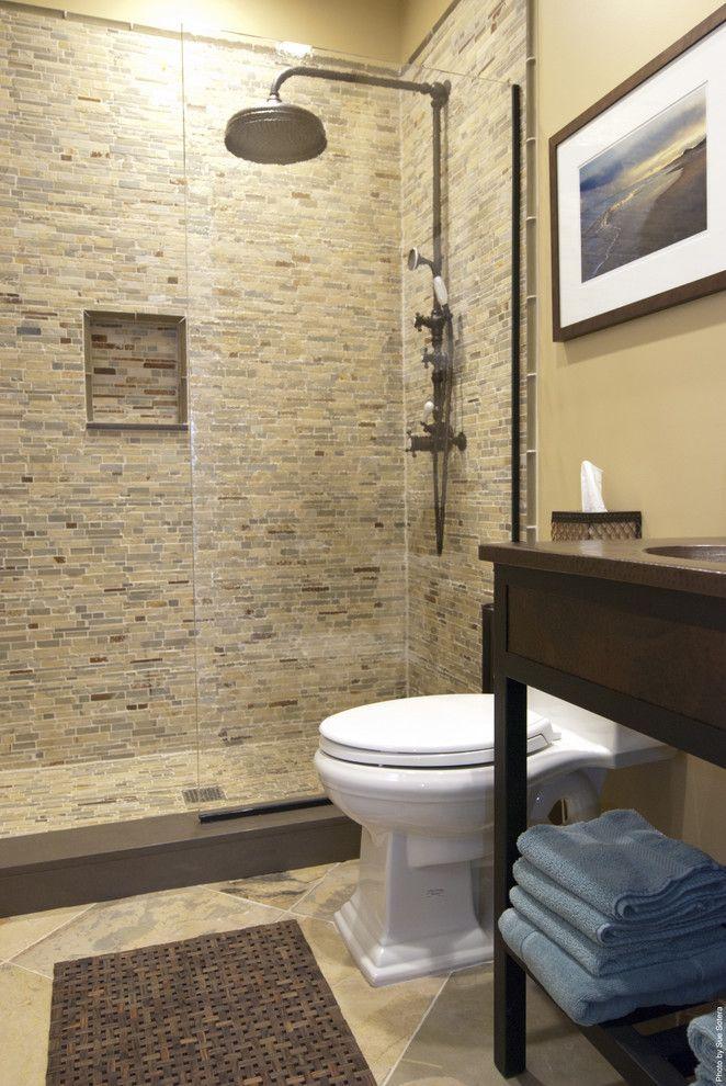 Asbestos Floor Tiles for a Contemporary Bathroom with a Tan and Contemporary Bathroom by Amidesigns.com