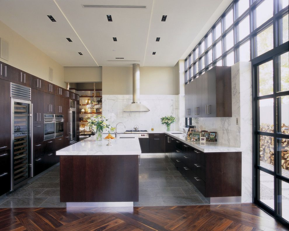 Asbestos Floor Tiles for a Contemporary Kitchen with a Kitchen Island and Jamie Herzlinger by Jamie Herzlinger