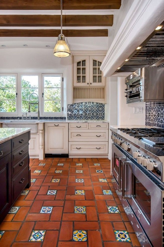Asbestos Floor Tiles for a Mediterranean Kitchen with a White Walls and Spanish Style by Tdm Tiling