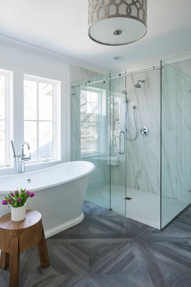 Asbestos Floor Tiles for a Transitional Bathroom with a Drum Ceiling Light and Master Bathroom by Martha O'hara Interiors