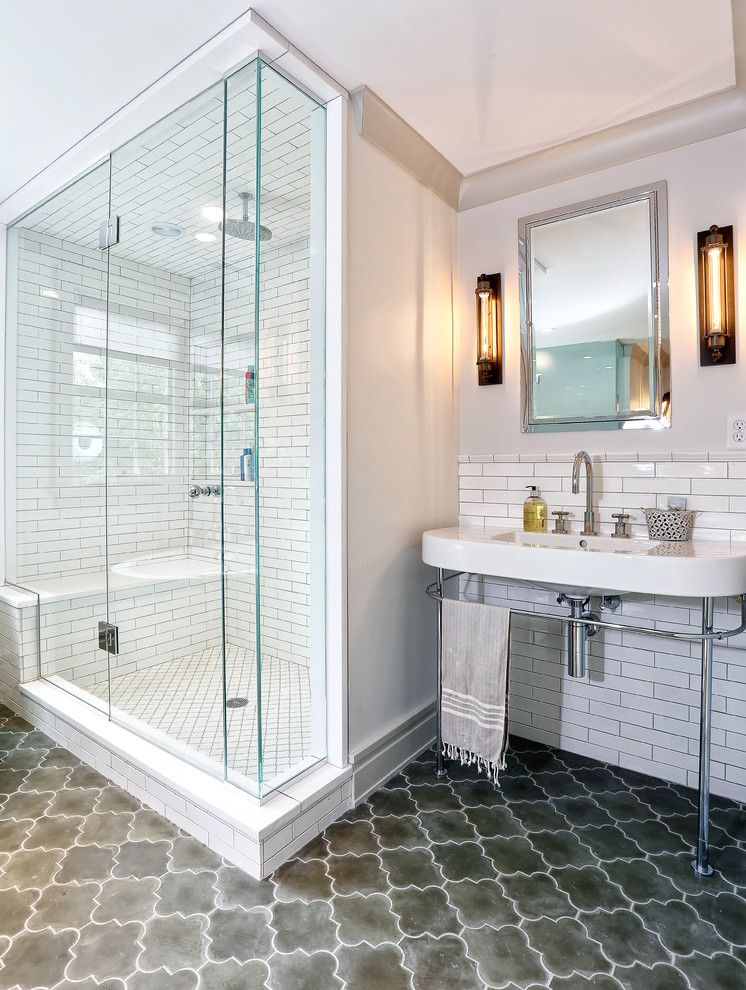 Asbestos Floor Tiles for a Transitional Bathroom with a Integrated Sink and Greenwich Remodel by Derosa Builders Llc