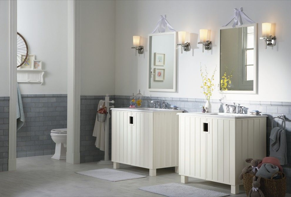 Ashley Furniture Albuquerque for a Transitional Bathroom with a Hers and His and Kohler Bathrooms by Capitol District Supply
