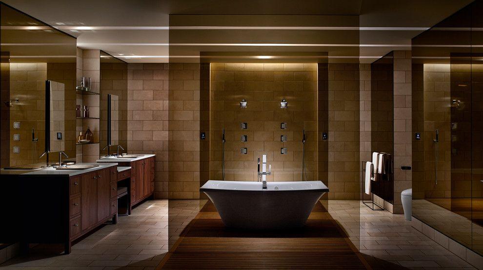 Ashley Furniture Orlando for a Modern Bathroom with a Teak Floor and Kohler by Kohler