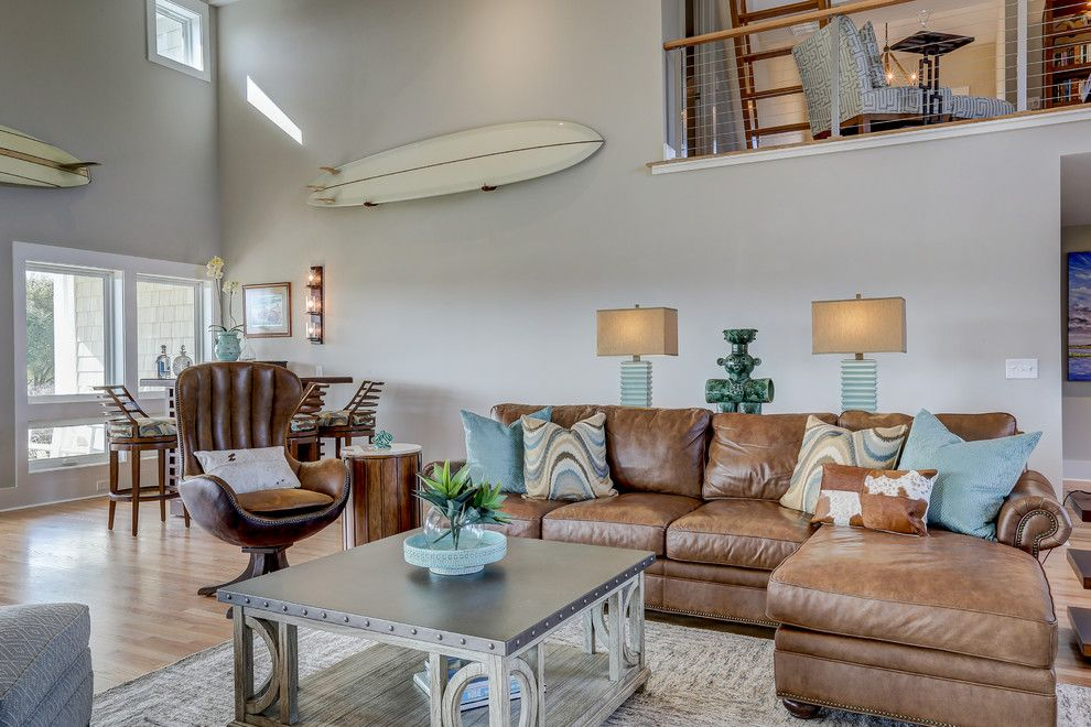 Ashley Furniture Wilmington Nc for a Contemporary Living Room with a Beach Home and Inlet View by Schmidt Custom Builders