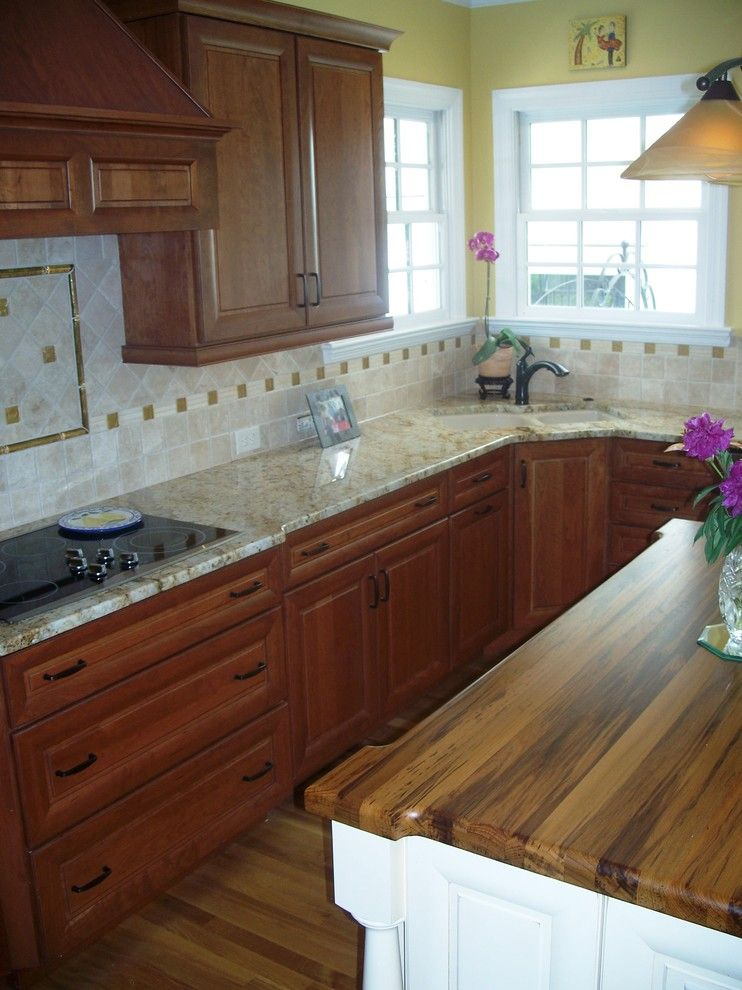 Ashley Furniture Wilmington Nc for a Traditional Kitchen with a Medallion and Traditional Cherry with Off White Accent by Shoreline Cabinet Company