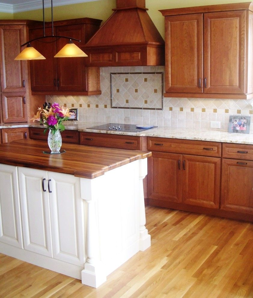 Ashley Furniture Wilmington Nc for a Traditional Kitchen with a Pecan Stain and Traditional Cherry with Off White Accent by Shoreline Cabinet Company