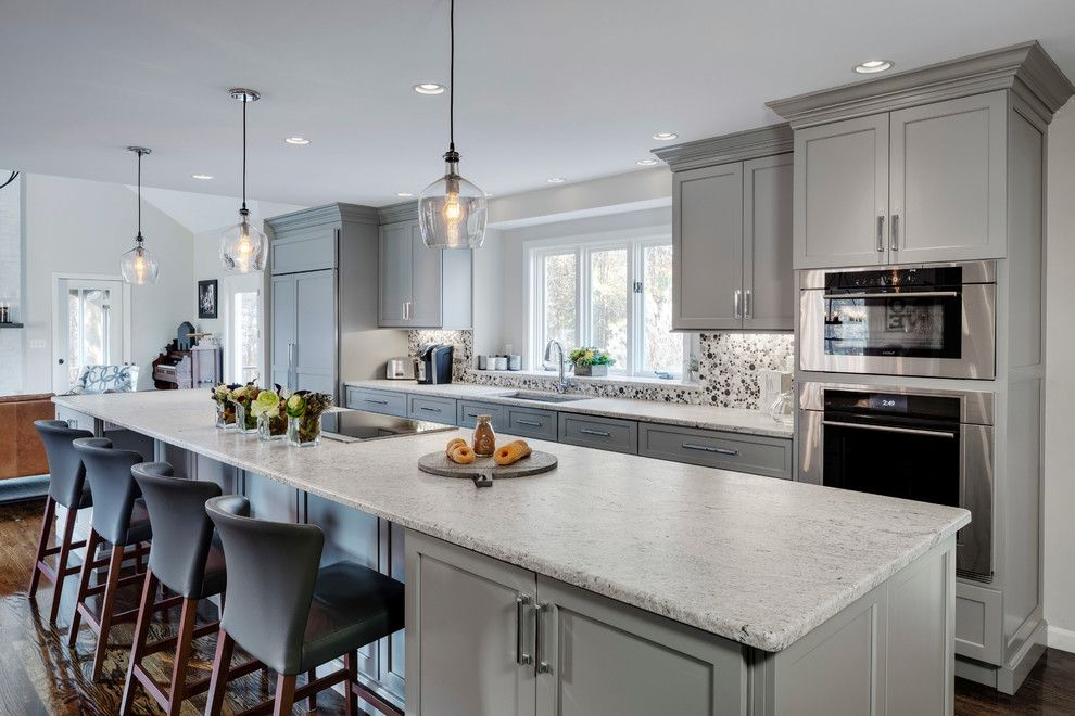 Asko Appliances for a Transitional Kitchen with a Gray and Gray Painted Kitchen by Platt Builders